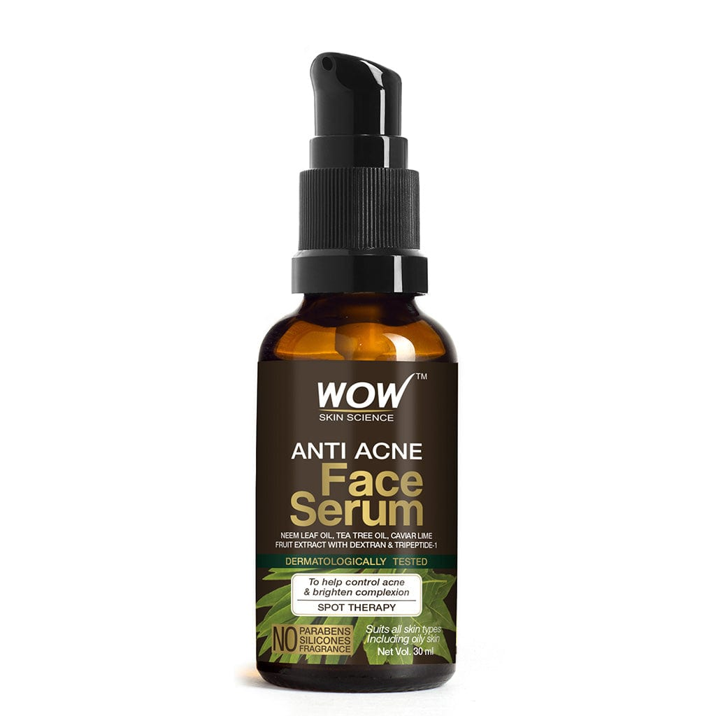 WOW Skin Science Anti Acne Face Serum - Natural Neem Leaf Oil, Tea Tree Oil, Caviar Lime Fruit Extract - Spot Therapy - No Parabens, Silicones & Fragrance - 30 ml - BuyWow