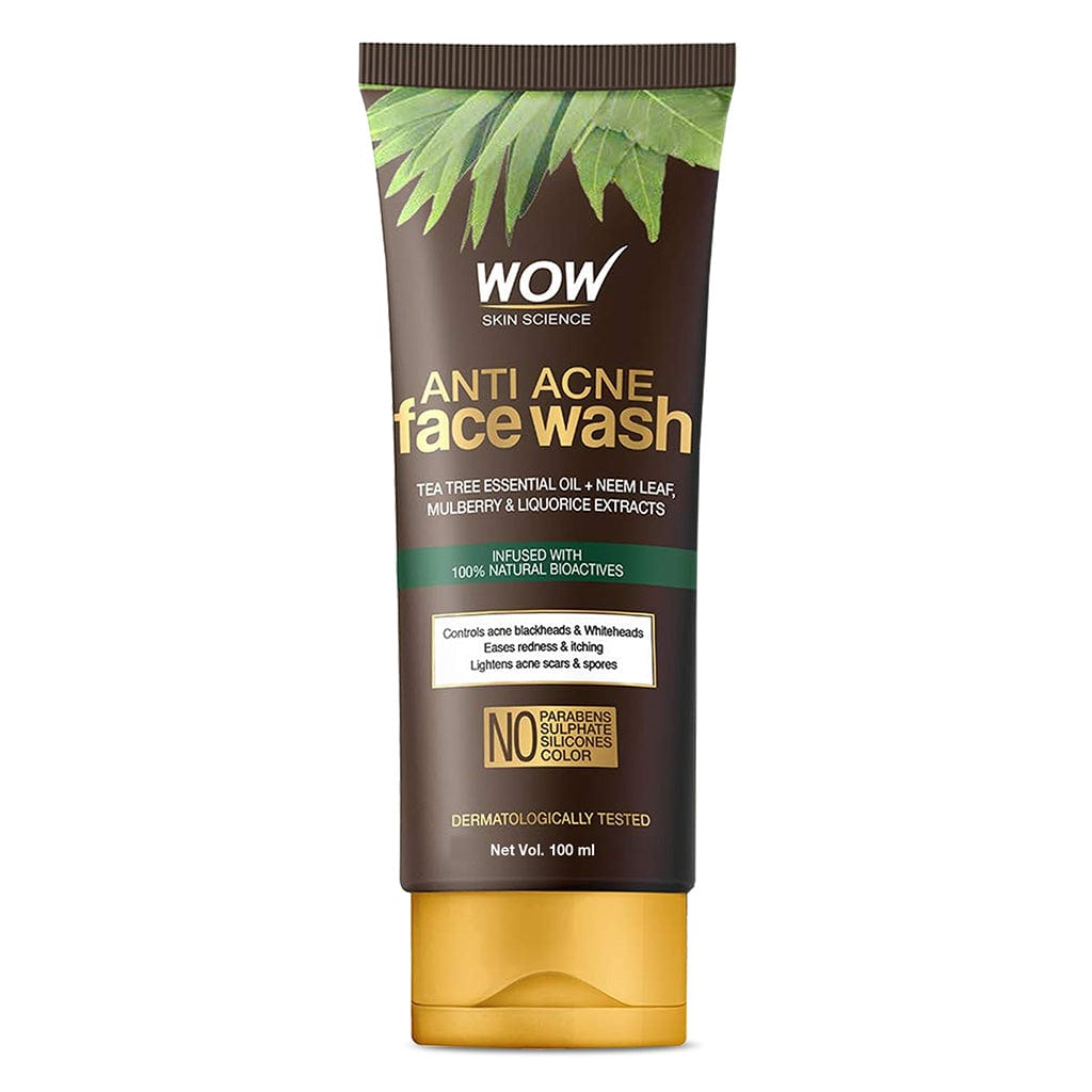 WOW Skin Science Anti Acne Face Wash - Oil Free - No Parabens, Sulphate, Silicones & Color - 100 ml - BuyWow
