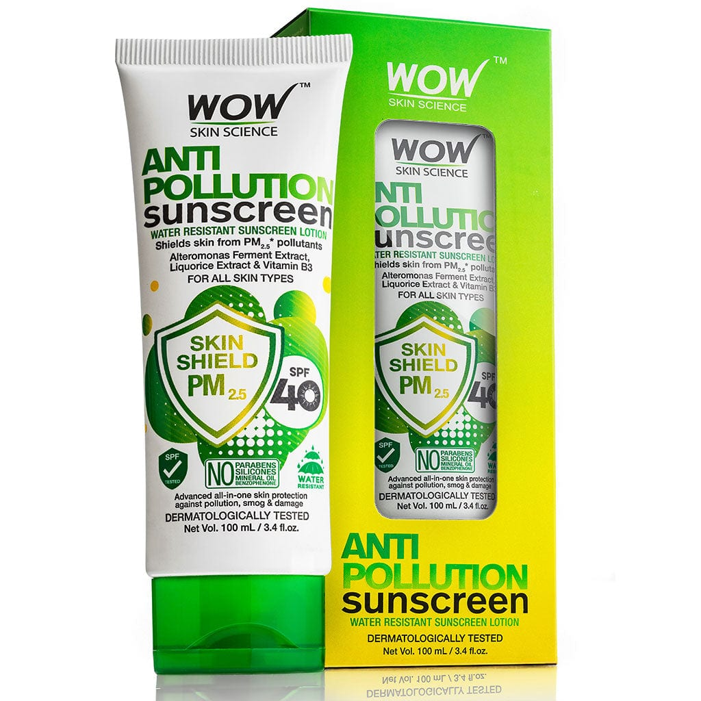 WOW Skin Science Anti Pollution SPF40 Water Resistant No Parabens & Mineral Oil Sunscreen Lotion - 100 ml - BuyWow