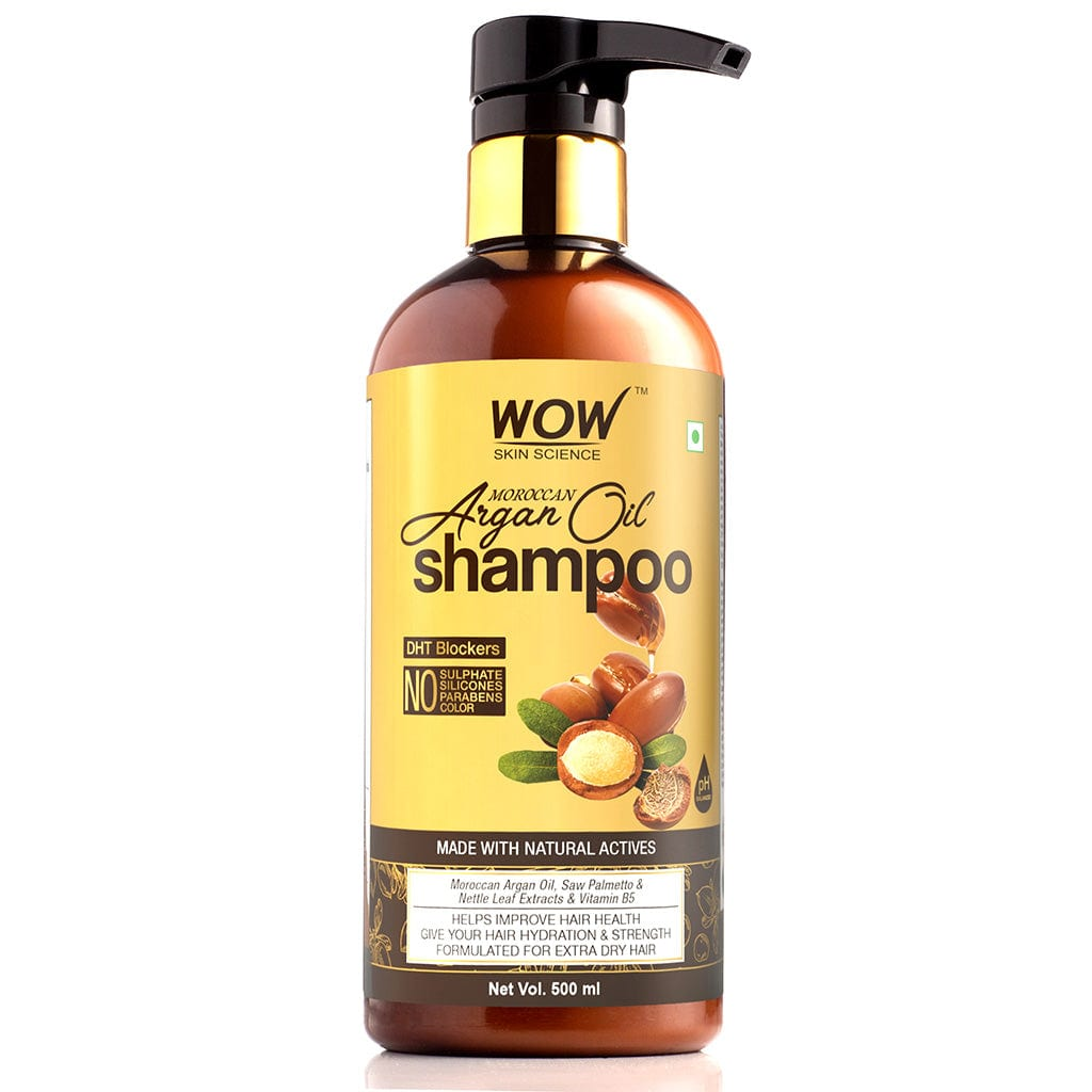 WOW Skin Science Moroccan Argan Oil Shampoo (with DHT Blocker) - No Sulphates, Parabens, Silicones, Salt & Colour - 500 ml - BuyWow