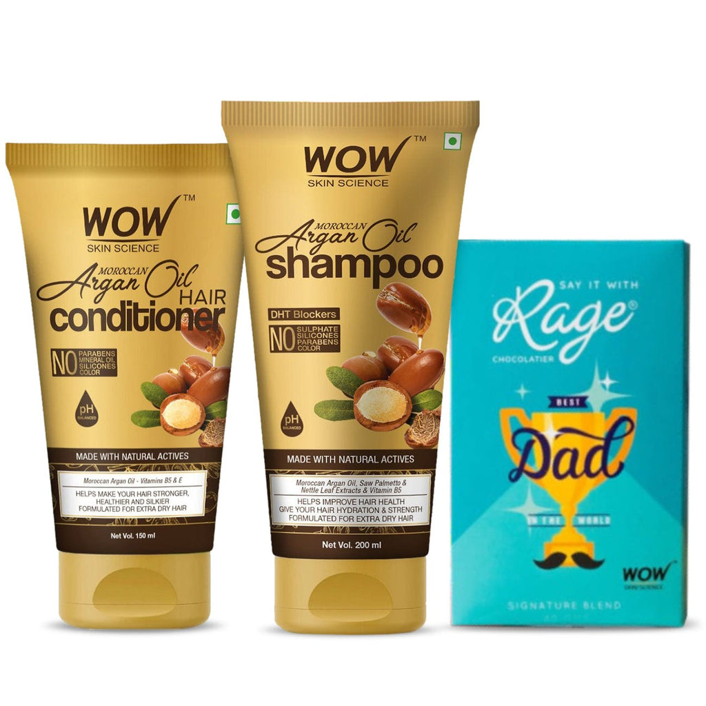 My caring dad  hair care kit (WOW Skin Science Argan shampoo and Argan oil conditioner + RAGE chocolate ) - BuyWow