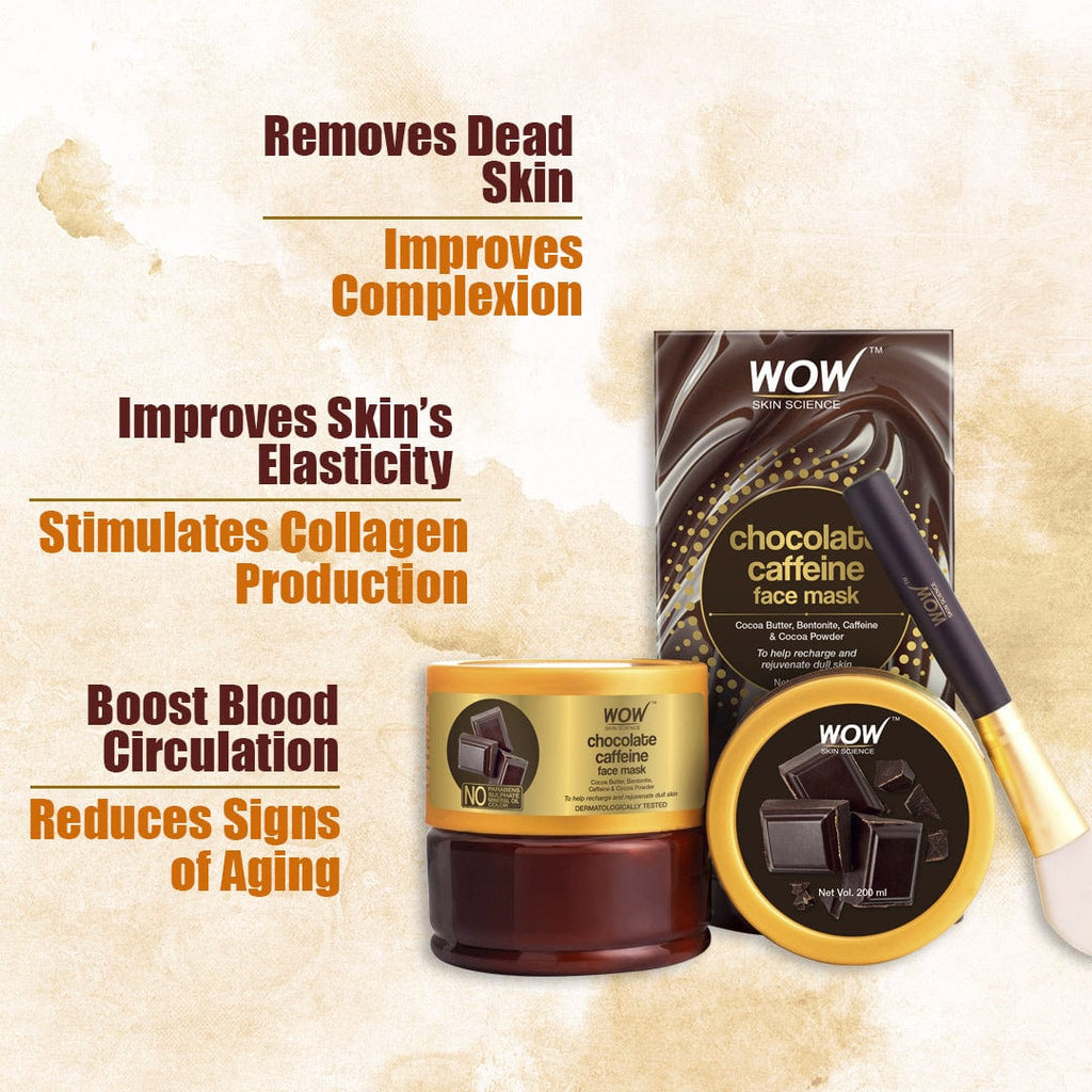 WOW Skin Science Chocolate Caffeine Face Mask for Recharging & Rejuvenating Dull Skin - No Parabens, Sulphate, Mineral Oil & Color - 200 ml - BuyWow