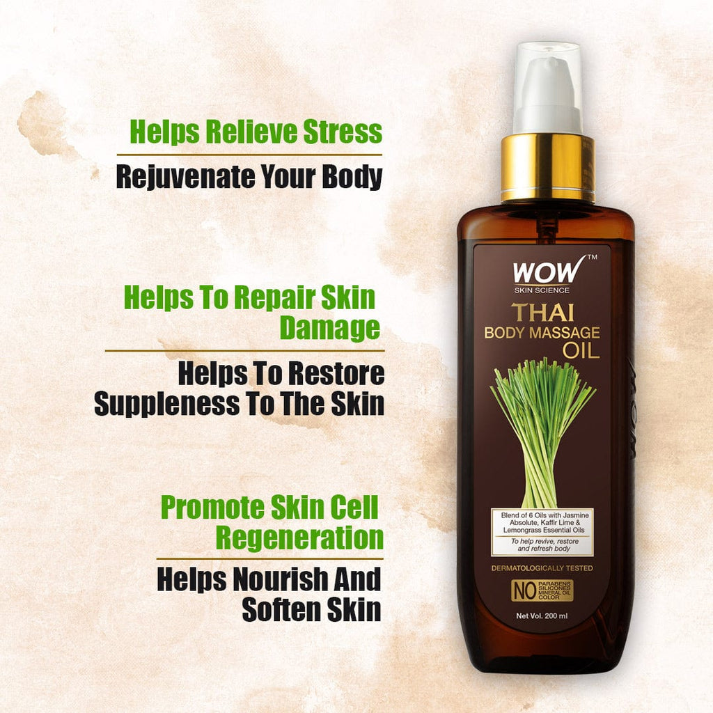 WOW Skin Science Thai Body Massage Oil for Reviving and Refreshing -Infused with Blend of 6 Oils with Jasmine Absolute, Kaffir Lime and Lemongrass Essential - 200 ml