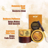 WOW Skin Science Turmeric Clay Face Mask For Helping To Brighten & Even Out Complexion - No Parabens, Sulphate, Mineral Oil & Color - 200 ml - BuyWow