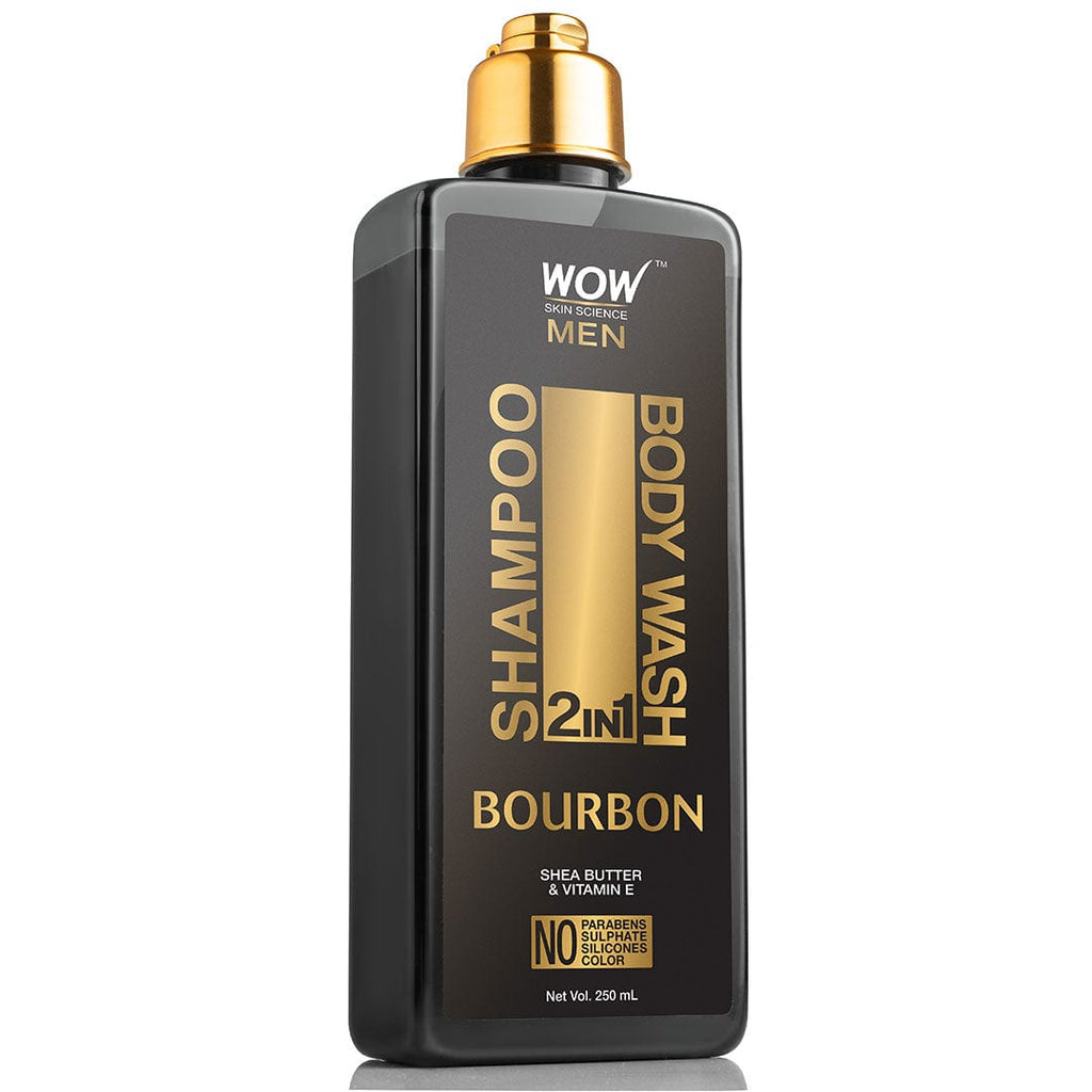 WOW Skin Science Bourbon 2-In-1 Shampoo + Body Wash - No Parabens, Sulphate, Silicones & Color - 250 ml - BuyWow