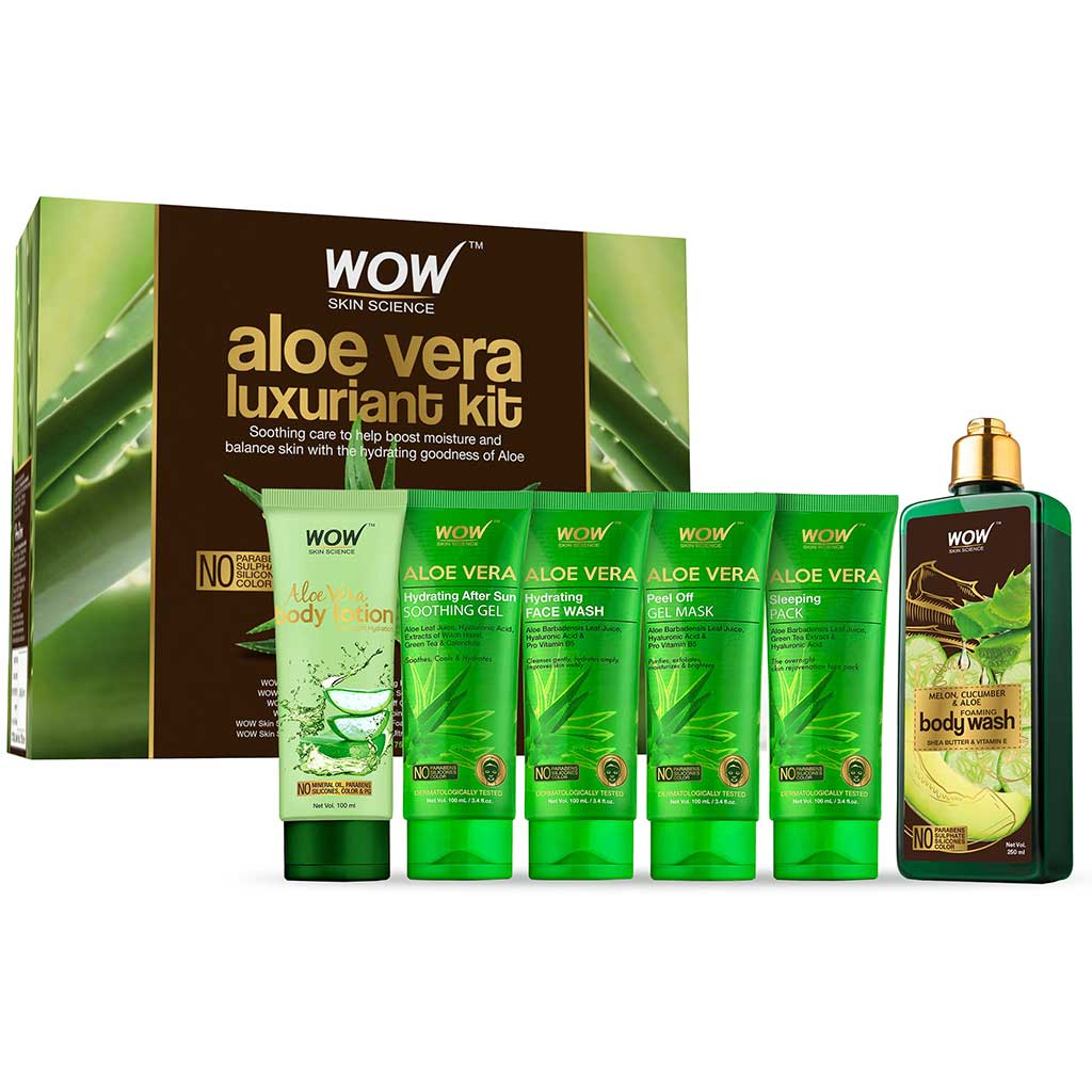 WOW Skin Science Luxuriant Aloe Vera Kit - contains Aloe Vera Body Lotion, Soothing Gel, Face Wash, Peel Off Mask & Body Wash - 750mL - BuyWow