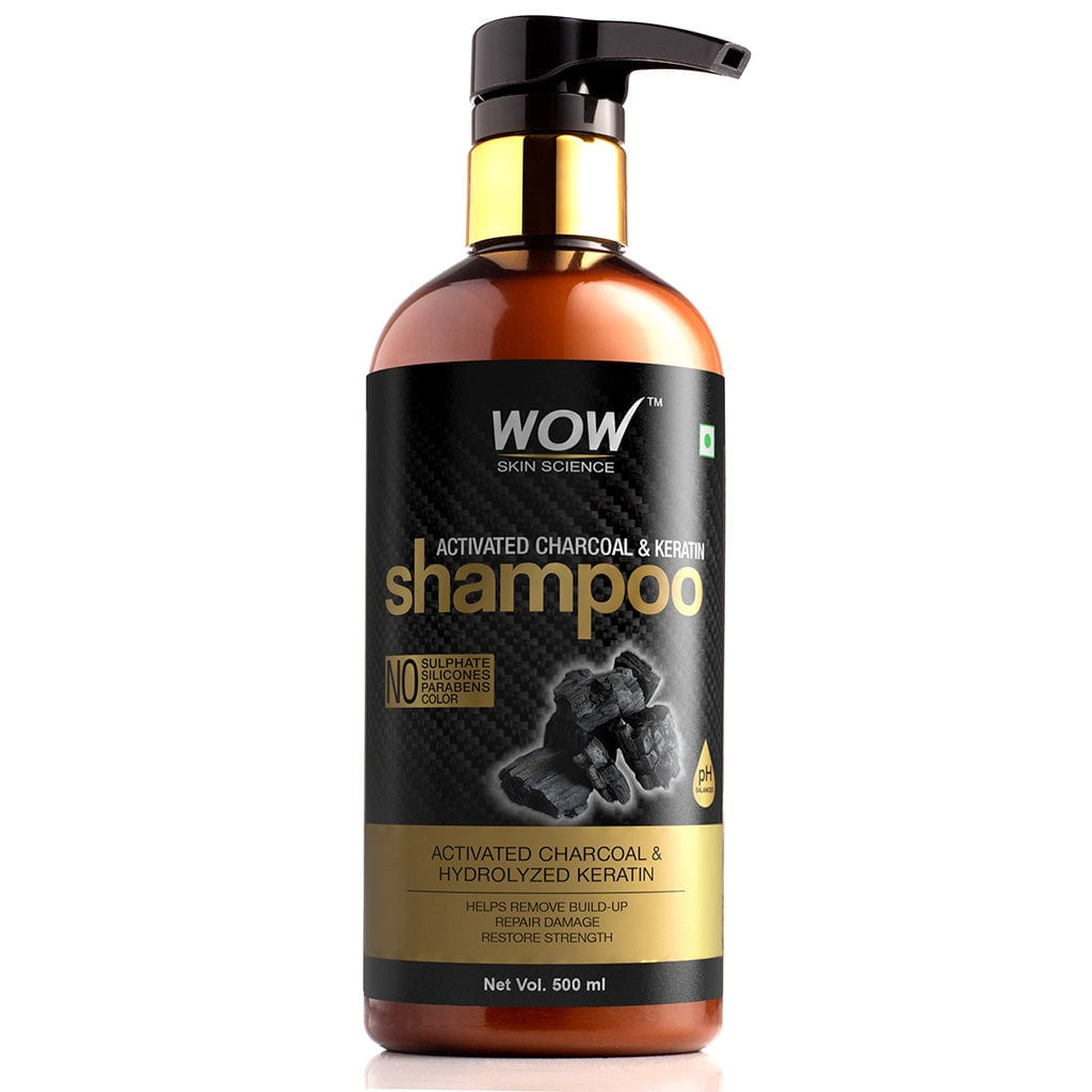 WOW Skin Science Activated Charcoal & Keratin Shampoo - 500 ml - BuyWow