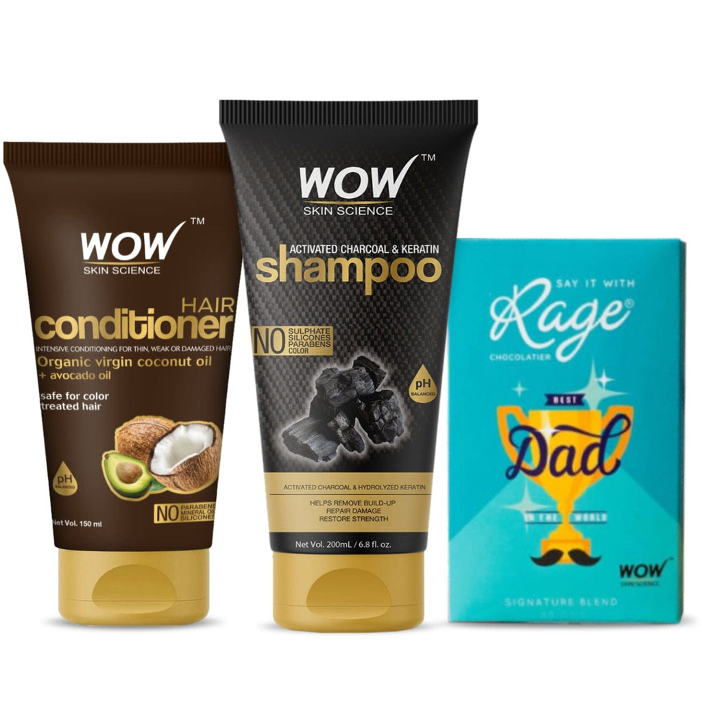 "The ""Cool"" Dad hair care duo (WOW Skin Science Charcoal and keratin shampoo 200ml + Avacado conditioner 150ml + RAGE chocolate ) - BuyWow"
