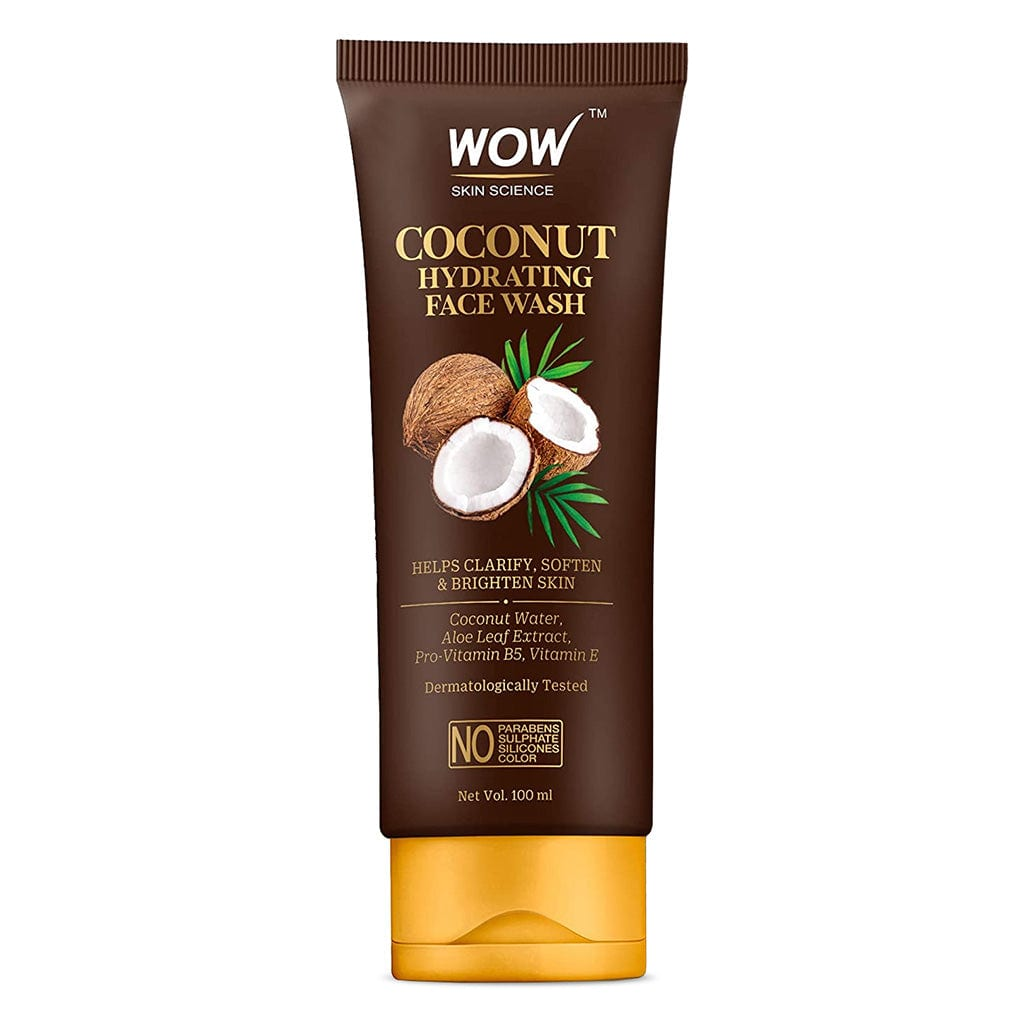 WOW Skin Science Coconut Hydrating Face Wash with Coconut Water, Aloe Leaf Extract - For Clarifying, Softening & Brightening Skin - For Dry/Normal Skin - No Parabens, Sulphate, Silicones & Color - 100 ml - BuyWow