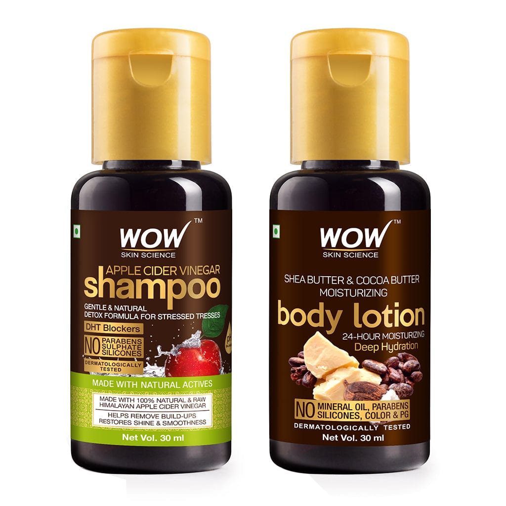 WOW Skin Science Apple Cider Vinegar Shampoo + Shea & Cocoa Butter Moisturizing Lotion - 30 ml - BuyWow