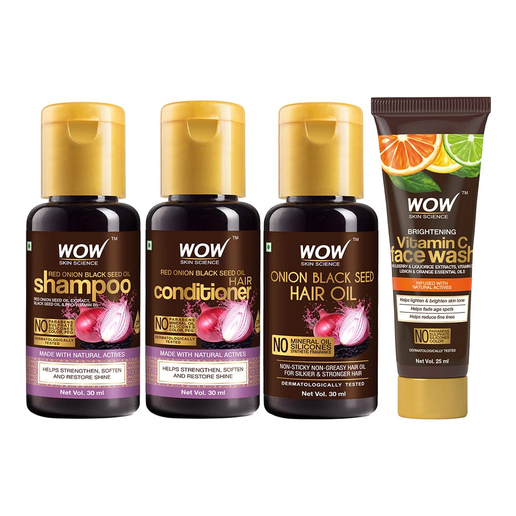 SAMPLER: WOW Skin Science Red Onion Black Seed Oil Shampoo + Conditioner + Hair Oil + Vitamin C Face wash -  Net Vol - 115 ml