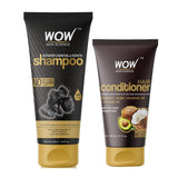WOW Skin Science Activated Charcoal & Keratin Shampoo + Hair Conditioner- 350 ml - BuyWow