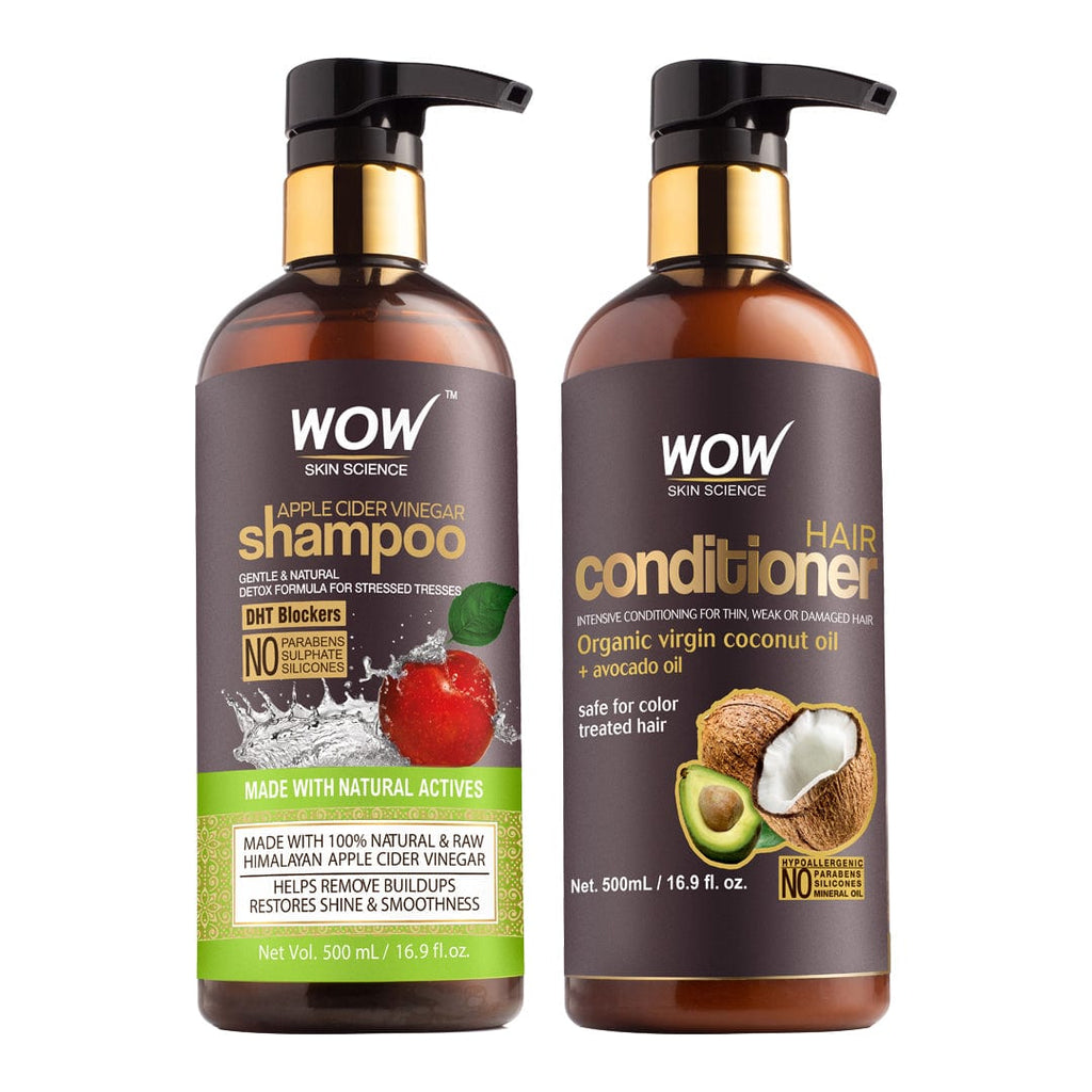WOW Skin Science Apple Cider Vinegar Shampoo + Hair Conditioner - 1000 ml - BuyWow