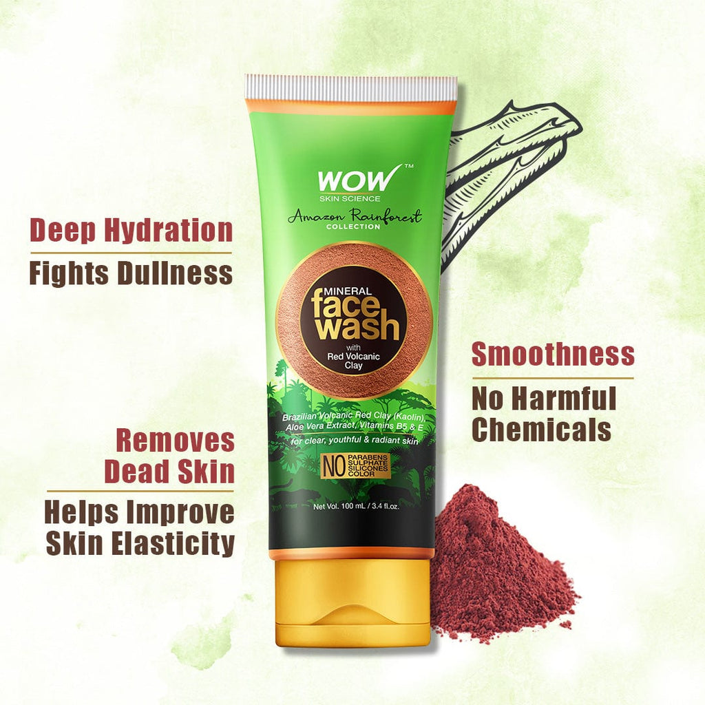 WOW Skin Science Amazon Rainforest Collection - Mineral Face Wash with Red Volcanic Clay - No Parabens, Sulphate, Silicones and Color - 100 ml - BuyWow