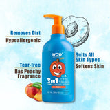 WOW Skin Science Kids Tip to Toe Wash - Shampoo - Conditioner - Body Wash - No Parabens, Sulphate, Silicones, Mineral Oil or Color - Peach - 300 ml - BuyWow