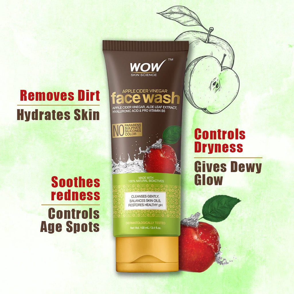 WOW Skin Science Apple Cider Vinegar Face Wash - 100 mL - BuyWow