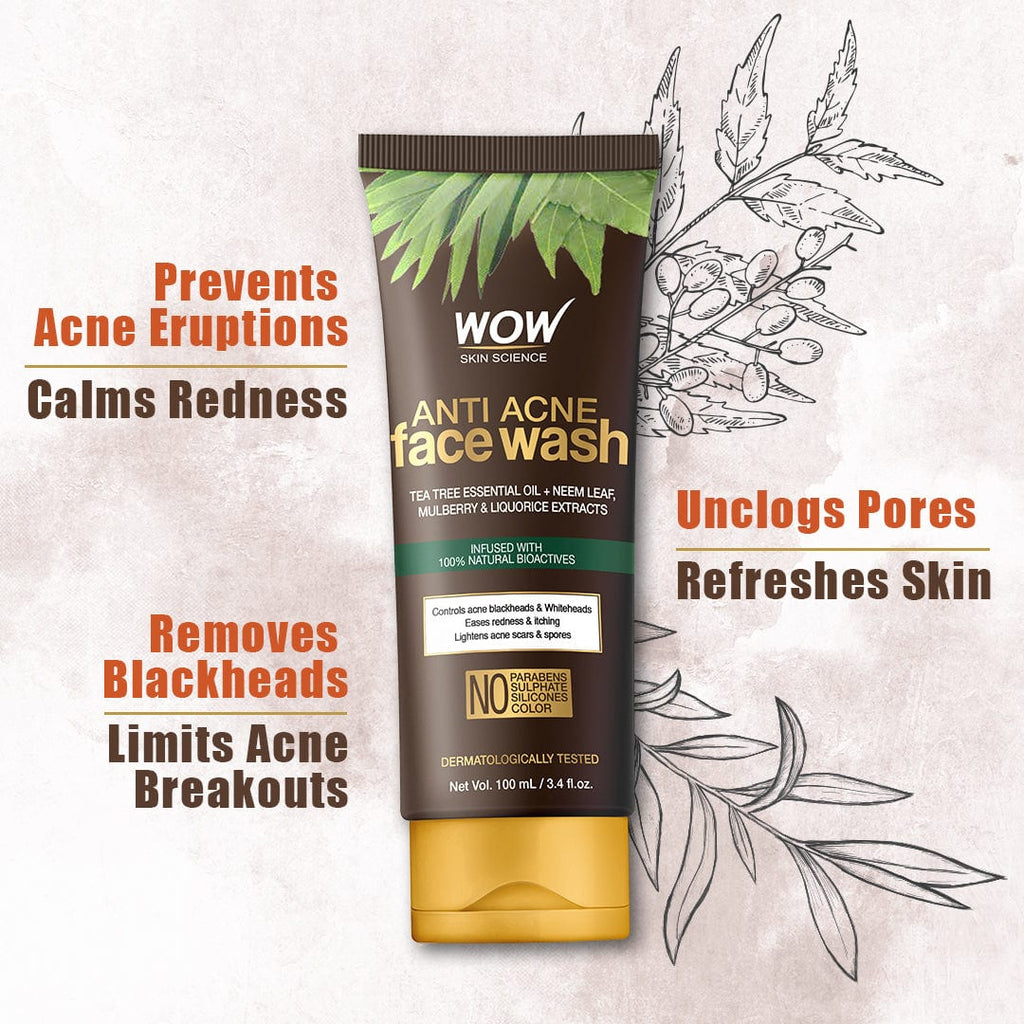 WOW Skin Science Anti Acne Neem & Tea Tree Face Wash - OIL Free - 100mL - BuyWow