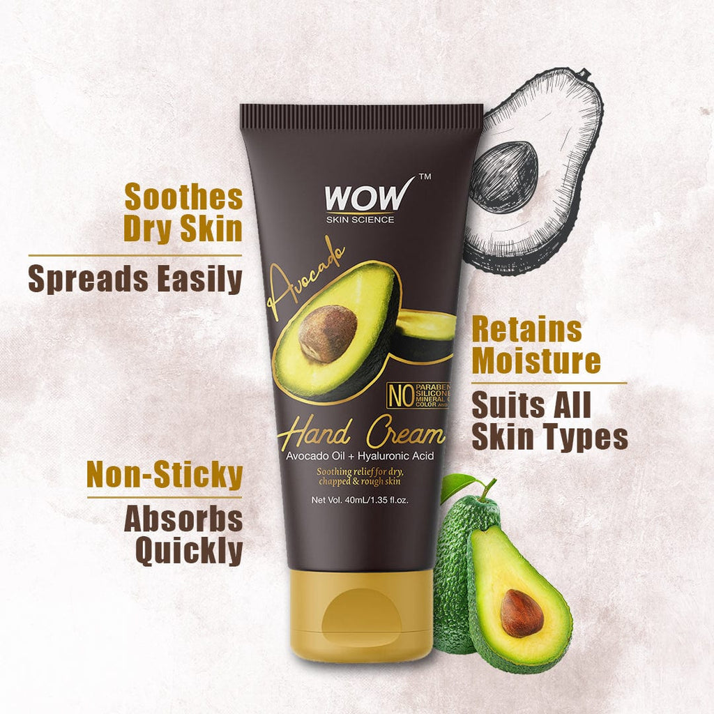WOW Skin Science Avocado Gentle Hand Cream With Avocado Oil + Hyaluronic Acid - No Parabens, Silicones, Mineral Oil, Color & Pg - 40 ml - BuyWow