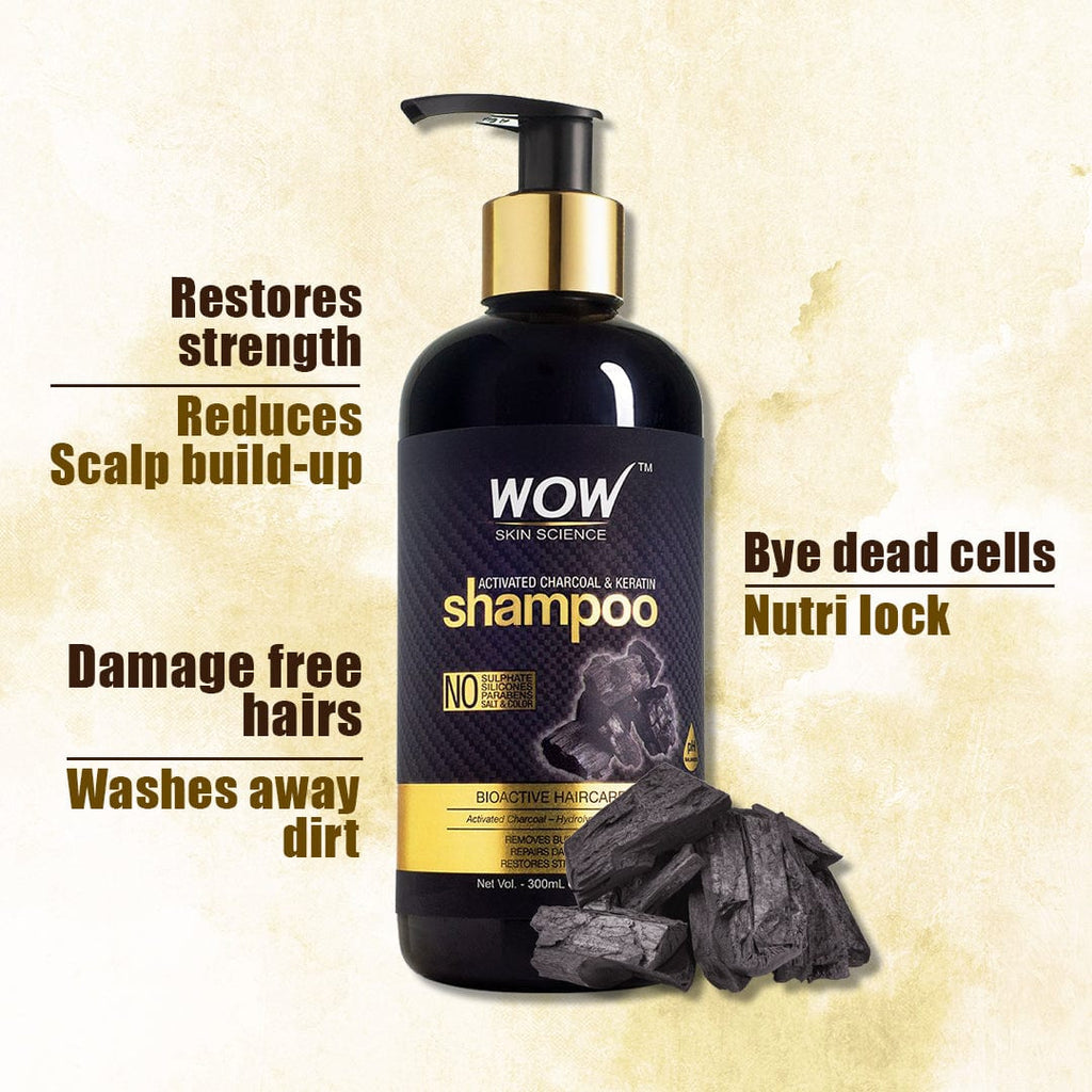 WOW Skin Science Charcoal & Keratin Shampoo - No Sulphates, Parabens, Silicones, Salt & Color - 300 ml - BuyWow