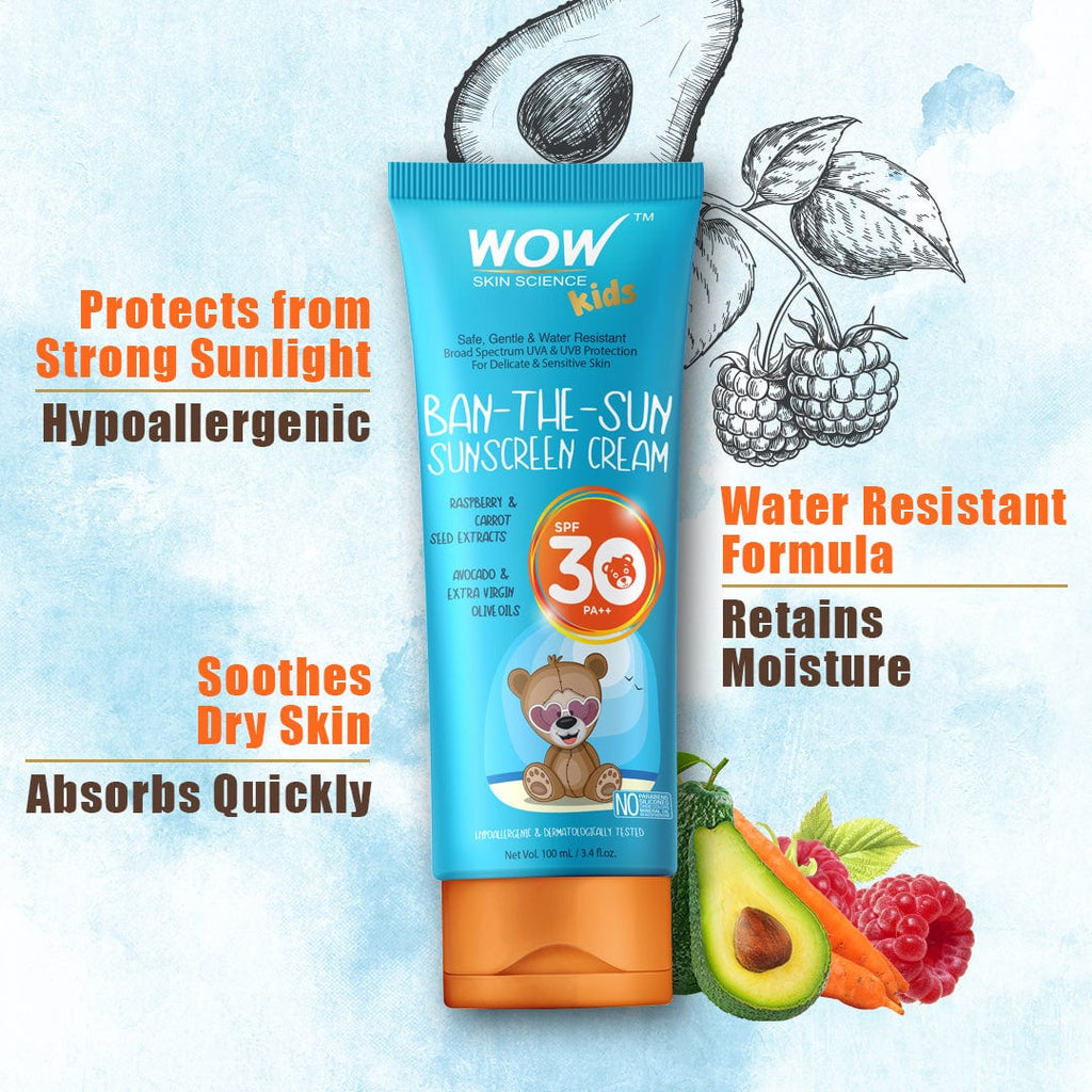 WOW Skin Science Kids Ban-The-Sun Sunscreen Cream Spf 30 Pa++ - No Parabens, Silicones, Oxide Color, Mineral Oil and Benzophenone - 100 ml - BuyWow