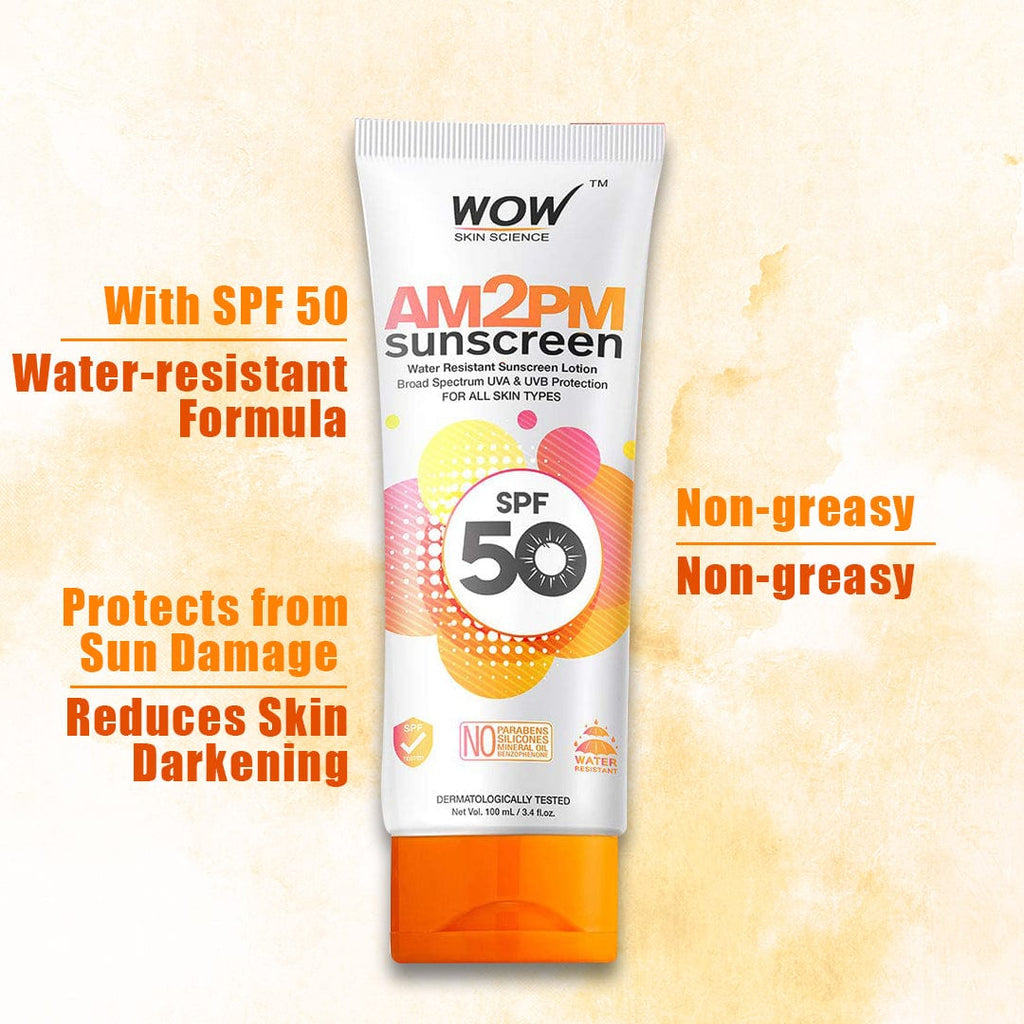 WOW Skin Science AM2PM SPF50 Water Resistant No Parabens & Mineral Oil Sunscreen Lotion - 100 ml - BuyWow
