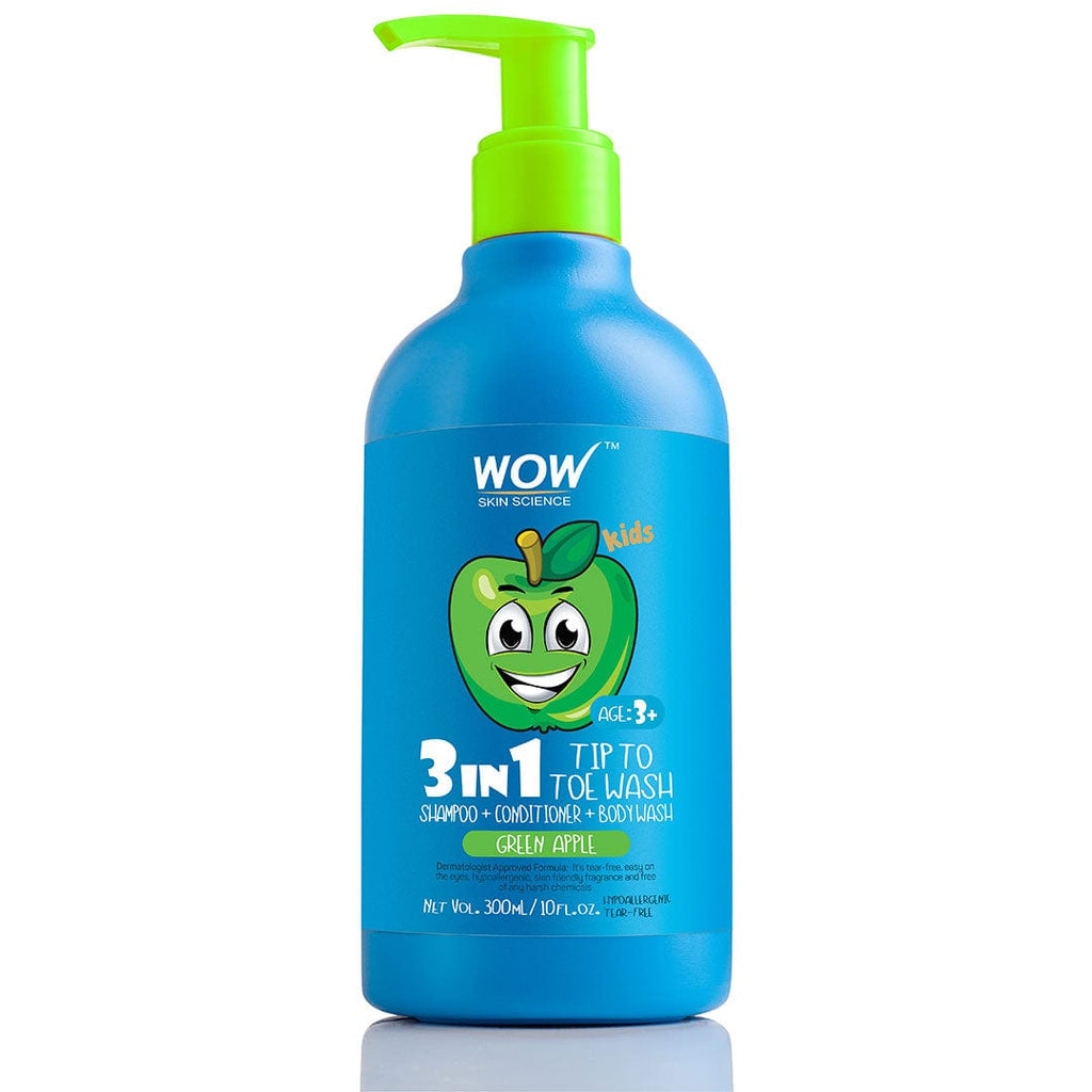 WOW Skin Science Kids Green Apple 3 in 1 Tip to Toe Wash - Shampoo + Conditioner + Bodywash - 300 mL - BuyWow