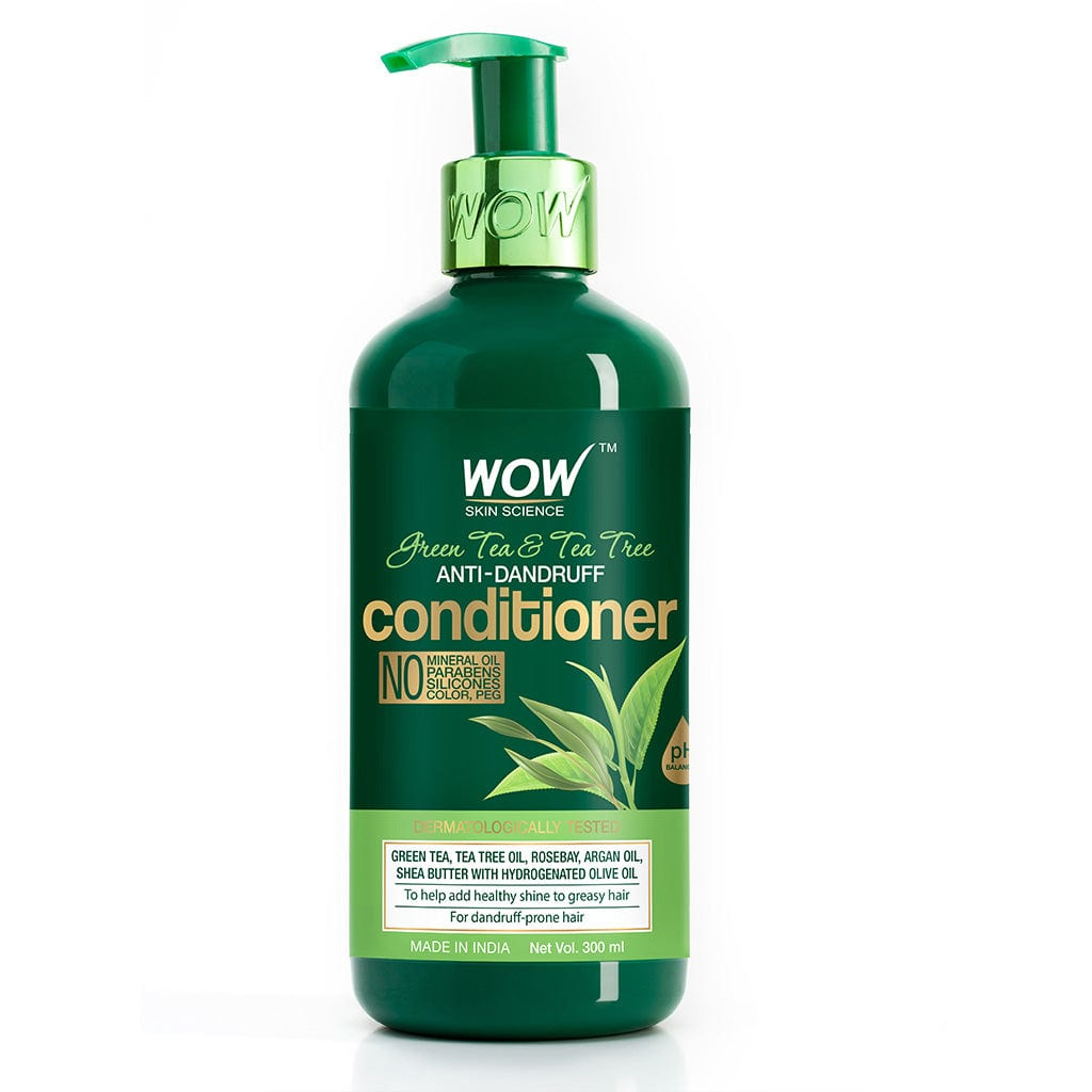 WOW Skin Science Green Tea & Tea Tree Anti-Dandruff Conditioner - NO Mineral Oil, Parabens, Silicones, Color & PEG - 300 ml - BuyWow