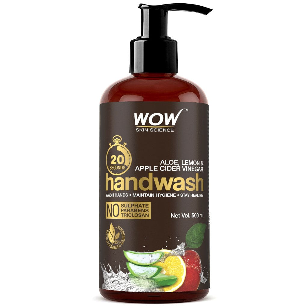 WOW Skin Science Aloe, Lemon & ACV Handwash - 20 Seconds - No Sulphate, Parabens, Silicones, Color & Triclosan - 500 ml