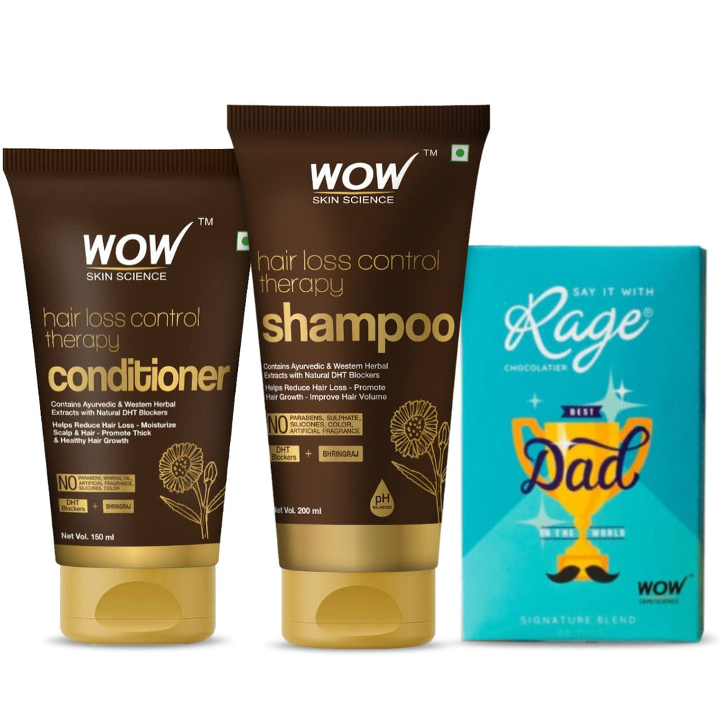 My superhero dad hair care kit (WOW Skin Science Hair loss control shampoo 200ml + Hair loss control conditioner 150ml + RAGE chocolate ) - BuyWow