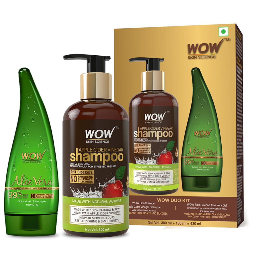 WOW Skin Science Apple Cider Vinegar Shampoo - 300 ml with 99% Pure Aloe Vera Gel - 130 ml - BuyWow