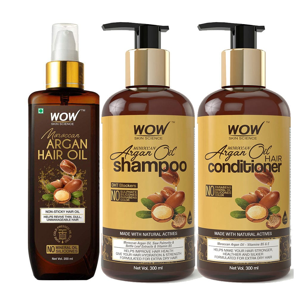 WOW Skin Science Moroccan Argan Oil Hair Kit - DRY HAIR REVIVAL WITH HEALTH, STRENGTH & GLOSS - BuyWow