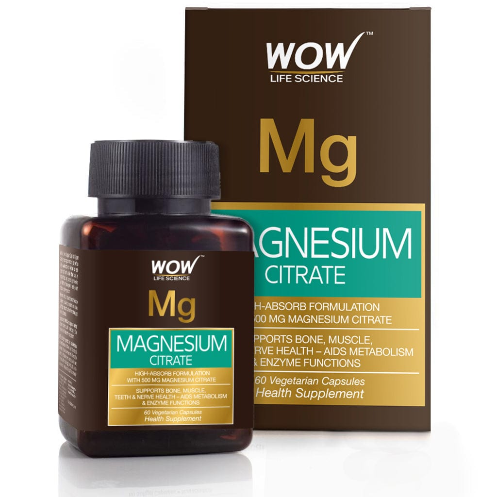 WOW Life Science Magnesium Citrate 500mg - 60 Vegetarian Capsules - BuyWow