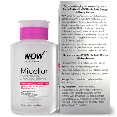 WOW Skin Science Micellar Water Facial Cleanser & Makeup Remover - BuyWow