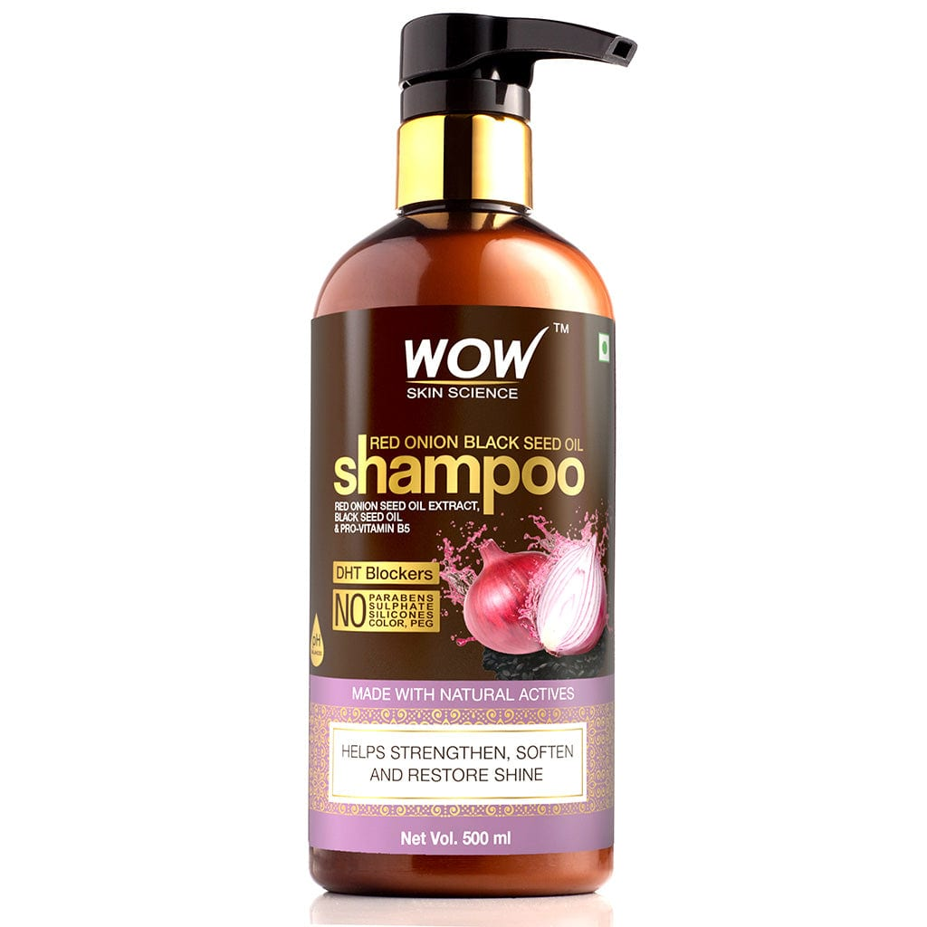 WOW Skin Science Red Onion Black Seed Oil Shampoo with Red Onion Seed Oil Extract, Black Seed Oil & Pro-Vitamin B5 - No Parabens, Sulphates, Silicones, Color & PEG - 500 ml