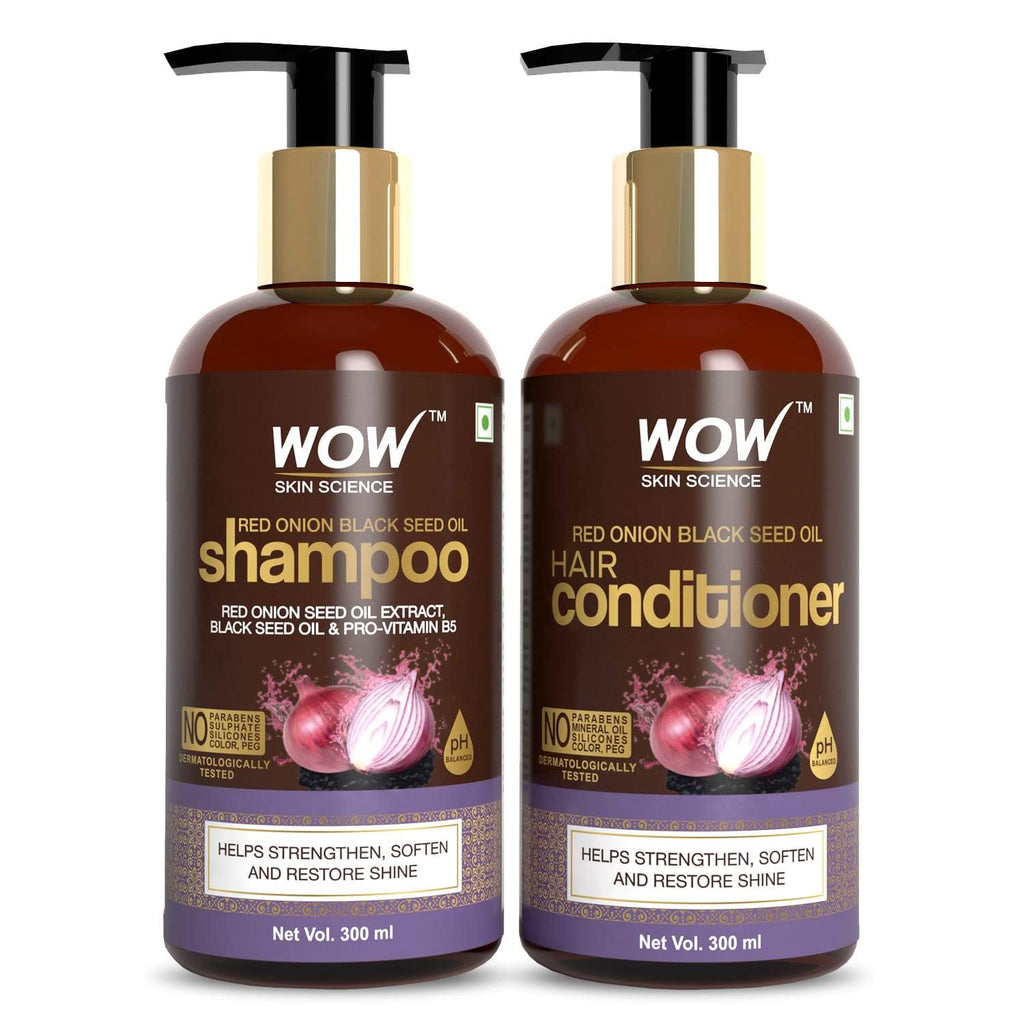 WOW Skin Science Red Onion Black Seed Oil Shampoo & Conditioner Kit With Red Onion Seed Oil Extract, Black Seed Oil & Pro-Vitamin B5 (Shampoo + Conditioner) - 600 ml - BuyWow