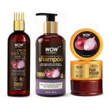 WOW Skin Science Onion Black seed hair oil with comb + Onion shampoo + Onion hair mask - Double The Strength Kit With Red Onion, Black Seed Oil & Pro-Vitamin B5