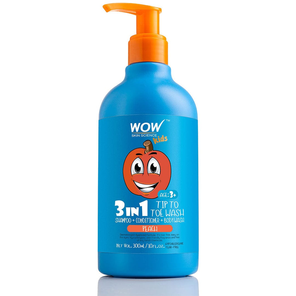 WOW Skin Science Kids Peach 3 in 1 Tip to Toe Wash - Shampoo+Conditioner + Bodywash-300mL