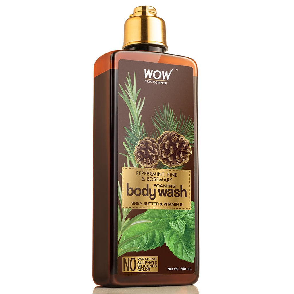 WOW Skin Science Peppermint, Pine & Rosemary Foaming Body Wash - No Parabens, Sulphate, Silicones & Color - 250 ml - BuyWow