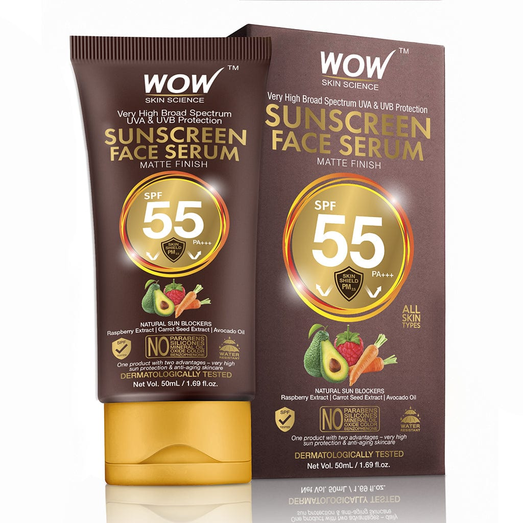 WOW Skin Science Matte Finish Sunscreen Serum SPF 55 PA++ with Raspberry, Carrot Seed & Avocado Oil - No Parabens, Silicones, Mineral Oil, Oxide, Colour, Benzophenone - 50 ml - BuyWow