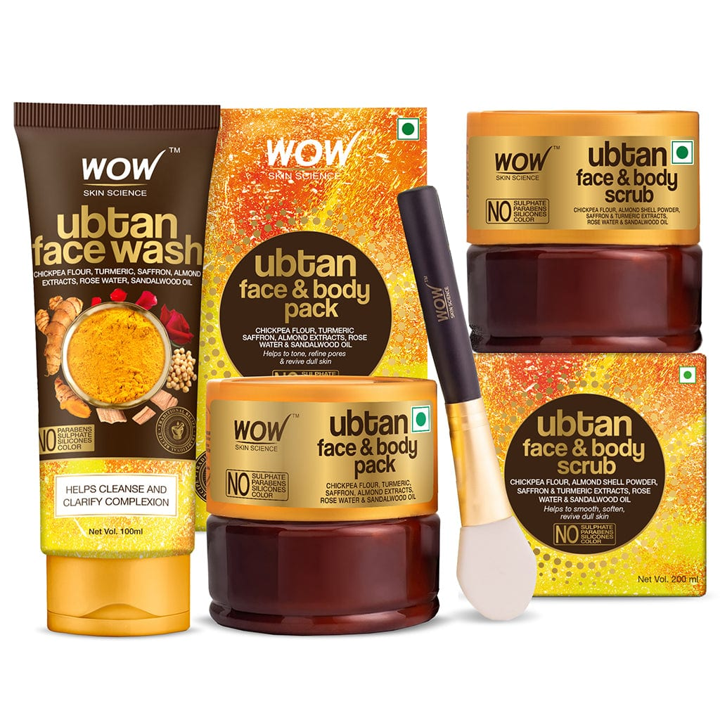 WOW Skin Science Ultimate Ubtan Bright & Glow Kit - Face Wash + Body Pack + Scrub - BuyWow