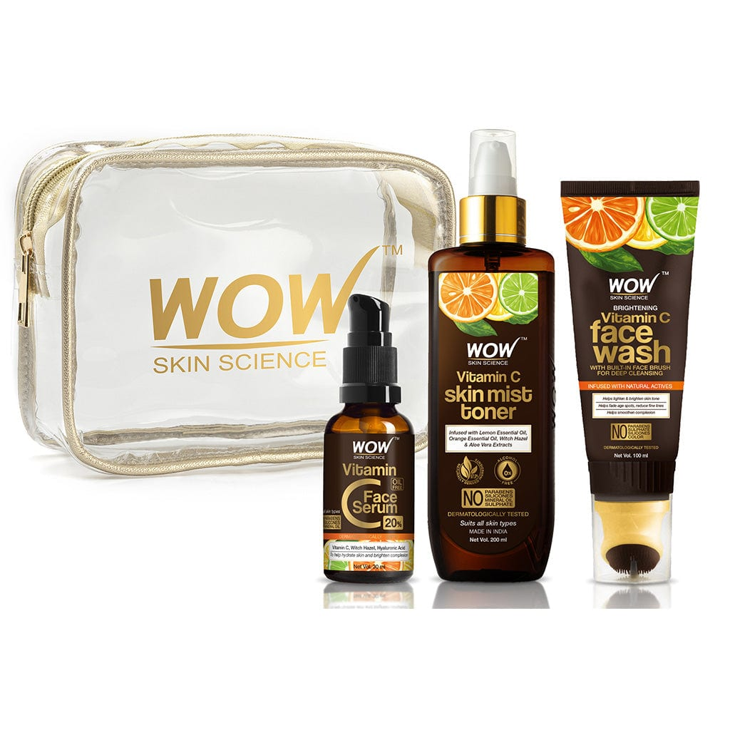 WOW Skin Science Radiance Booster Travel Essentials with Vitamin C Serum + Vitamin C Mist Toner + Vitamin C Foaming Face Wash GEL with Built-In Face Brush - 230 mL