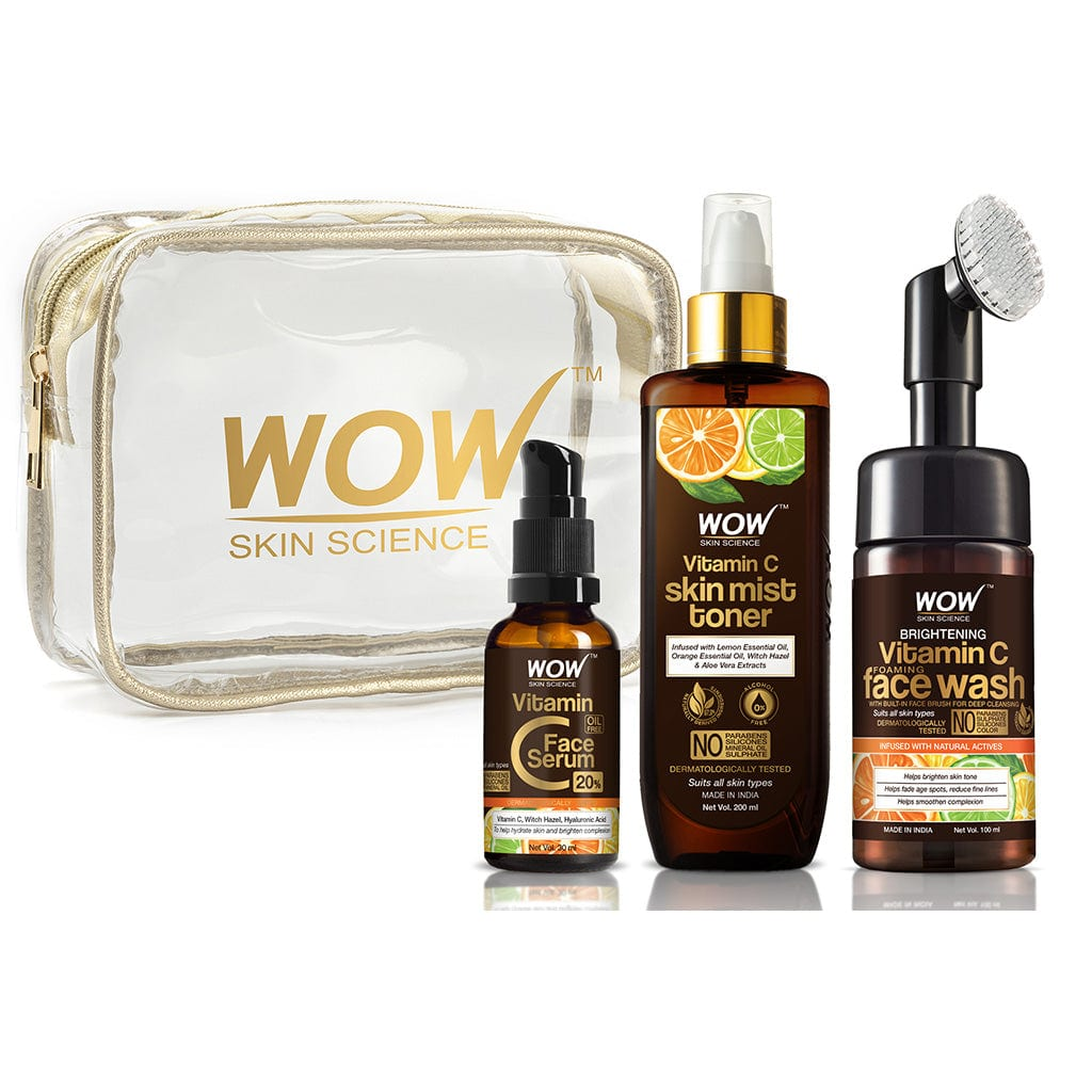 WOW Skin Science Ultra-Hydration Travel Essentials  with Vitamin C Serum + Vitamin C Mist Toner + Vitamin C Foaming Face Wash with Built-In Face Brush - 230 mL