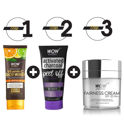 Wow Skin Science Lightening & Brightening Kit - Vitamin C Facewash + Fairness Cream + Charcoal Peel Off Mask - BuyWow