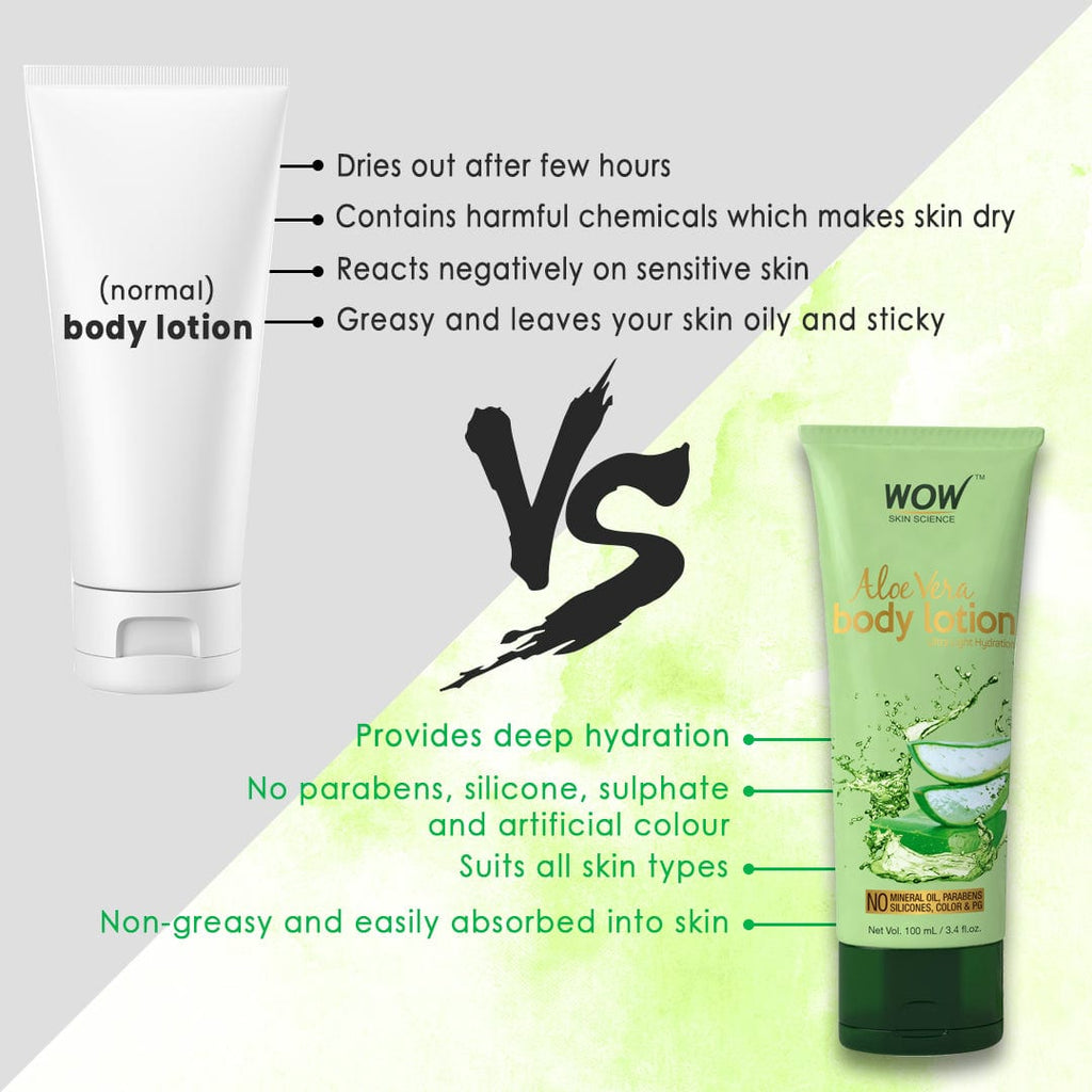 WOW Skin Science Aloe Vera Body Lotion - Ultra Light Hydration - No Mineral Oil, Parabens, Silicones, Color & PG - 100 ml - BuyWow