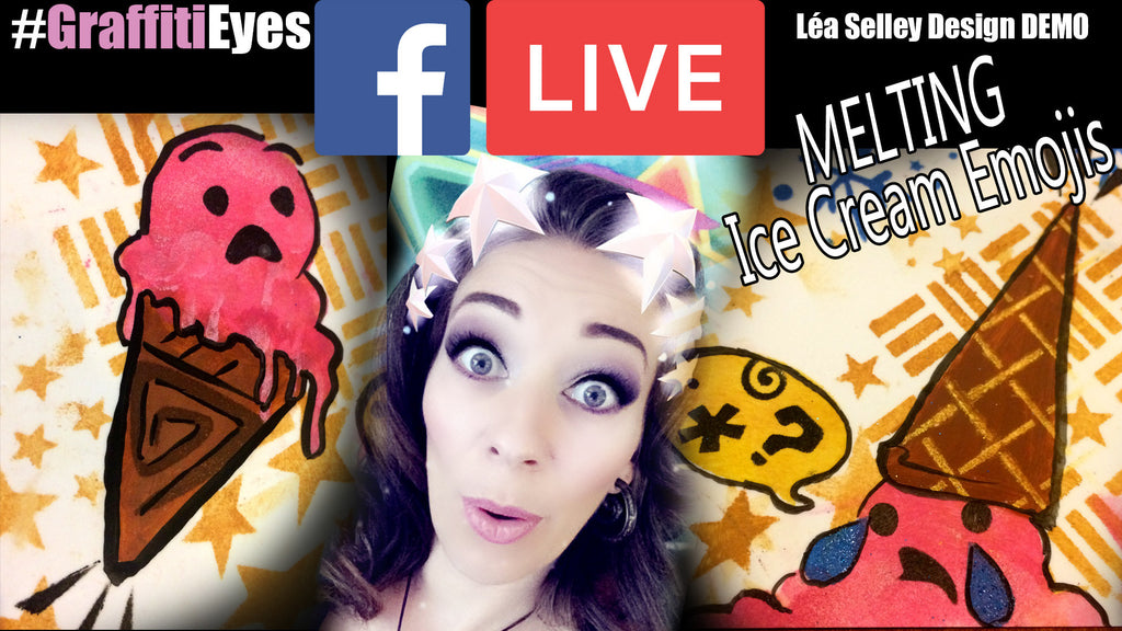 Facebook Live Video Tutorial - Ice Cream Emoji Face Paint Designs Using Stencils