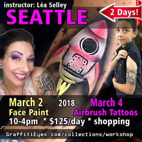 Seattle - Mar 2 & 4, 2018 - GraffitiEyes Face Painting & TattooPro Stencils
