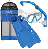 US DIVERS TROPIC YOUTH SNORKEL AND FIN SET