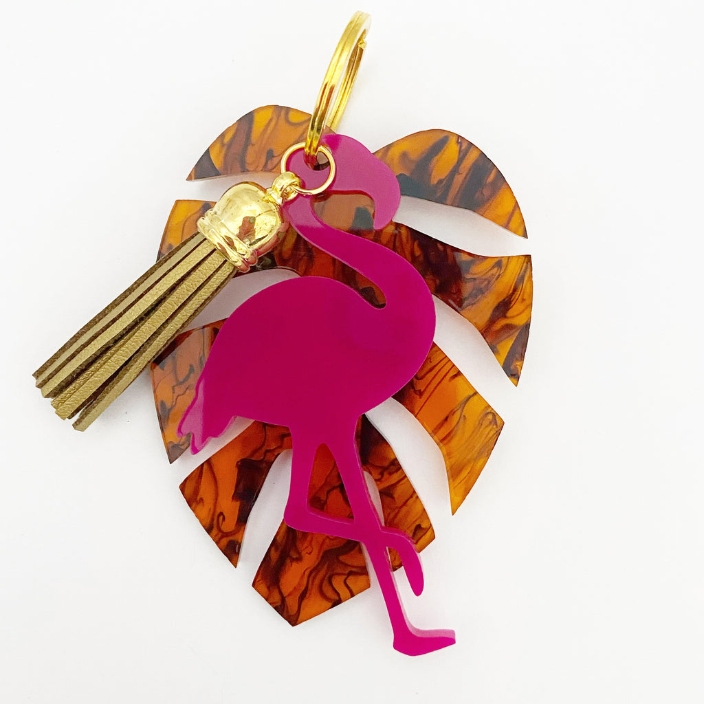 Monsterra & Flamingo Keychain - Lowcountry Design Studio