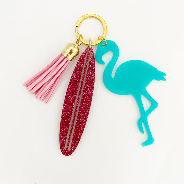 Surfboard & Flamingo Keychain - Lowcountry Design Studio