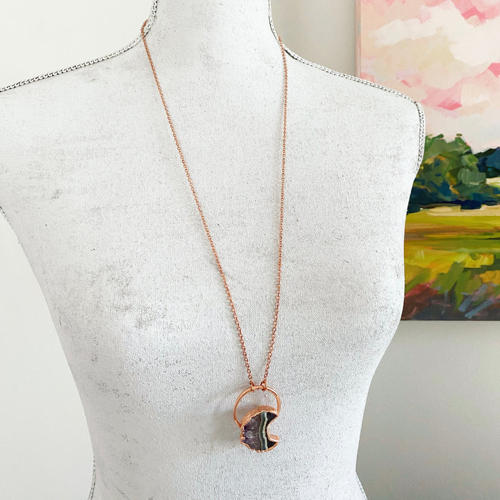 "Moon Geode Pendant on 30"" Chain - Lowcountry Design Studio"